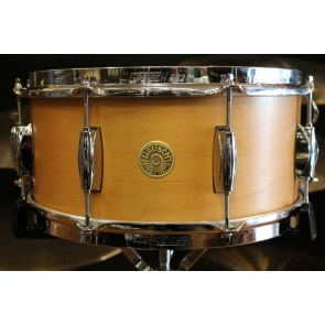 Gretsch Broadkaster 6.5X14 Satin Natural Snare Drum, Lightning Throw GKSL6514S8CL