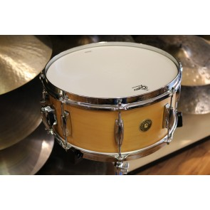 Gretsch Broadkaster 6.5X14 Satin Natural Snare Drum, Lightning Throw