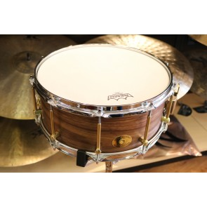Noble and Cooley 6x14 Classic Walnut Snare Drum, Clear Matte Finish, Brass Hardware, Flanged Chrome Hoops