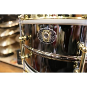 Ludwig 6.5x14 110th Anniversary 8 Lug Black Beauty w/ Single Flanged Hoops and Gold Hardware. W/ leather Ludwig Snare Bag