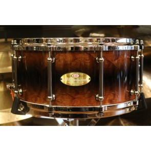 Pearl Masterworks 6.5x14 Mahogany Artisan Snare Drum with nickel hardware, Pearl Mastercast Hoops, and Tube Lugs, in Burl Mahogany