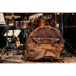 "Woodshed Leatherworks Brown Leather Deluxe 22"" Cymbal Bag"