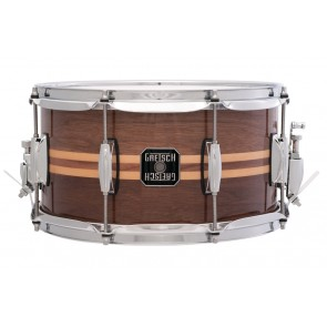 Gretsch 7X13 Walnul Snare Drum With Two Maple Inlays