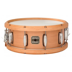 Gretsch 5.5X14 Maple With Wood Hoops Natural Snare Drum