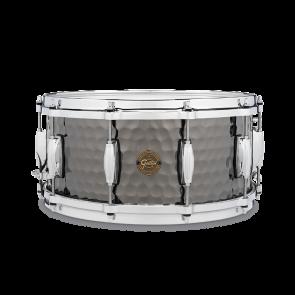"""Gretsch """"Full Range"""" 6.5x14 Hammered Black Steel Snare Drum"""