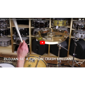 "Zildjian 16"" A Custom Crash Brilliant-Demo of Exact Cymbal-1070g A20514"