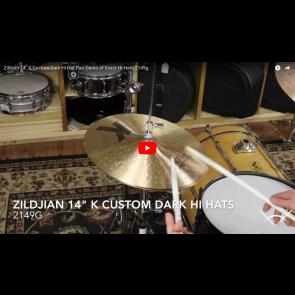 "Zildjian 14"" K Custom Dark Hi Hat Pair-Demo of Exact Hi Hats-2149g K0943"