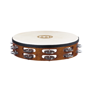 Meinl Headed Wood Tambourine Steel Jingles 2 Rows African Brown