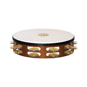 Meinl Headed Wood Tambourine Brass Jingles 2 Rows African Brown
